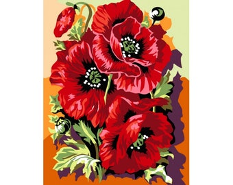 Paint by numbers kit Poppies