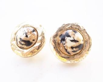 Vintage gold tone animal print clip on earrings