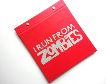 Race Bib Holder - I Run From Zombies  - Gift for Runner - Zombie Run - Race Bib Book Hand-bound for Runners Red and Light Gray
