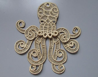 Embroidered Octopus Cathulu Lace Applique with moving parts
