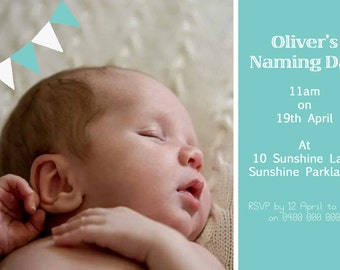 Custom Invitation Printable JPEG/PDF. Birthday, Christening, any occasion. Personalised wording, any colours, your photo.