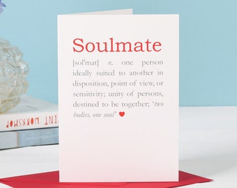 Personalised Soulmate Definition Valentine's Card - romantic card - girlfriend card- husband card -wife card- boyfriend card - valentines