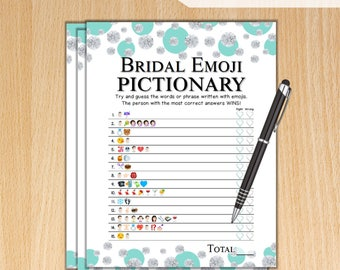Emoji Pictionary Bridal Shower Game / Tiffany Dots Diamonds / Instant Printable Digital Download / DIY Bridal Shower Printables / TB74