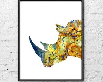 Rhino Watercolor Art Print Painting, Animal Wall Decor, Animal Art, Rhino Watercolor Poster, Wall Decor Wall Art - H75