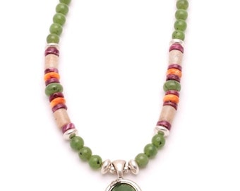 Jade Necklace with Sterling Silver and Jade Pendant