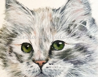 Green Eyes 3x3 Gift Enclosure Cards with envelope reproduced from my original painting