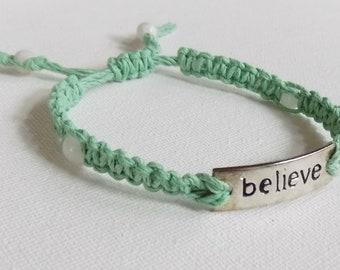 Mint Green Hemp Believe Bracelet with Quartz Beads