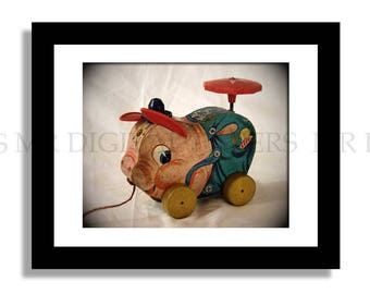 Childs Room Photo / Pig Piggy Pull Toy / Kids Room / Wall Art/ Pig Photograph/ Kitchen Decor/ Digital Paper Download/ Instant Download