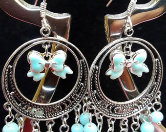 Hoop earrings in all blue with a pretty bow!