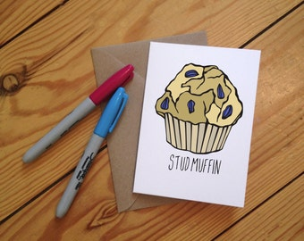 Stud Muffin Illustrated Greetings Card