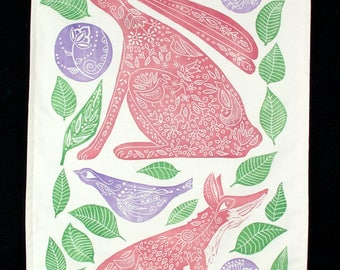 linocut, wall hanging, fox, hare, pink, nursery decor, cotton fabric, hand printed, one of a kind, original art, printmaking, purple, green