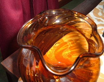 Vintage Hand Blown Amber Vase,Beautiful Swirl Design