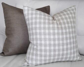 Neutral Accent Pillows, Checked Pillows, Taupe Pillow Cover, Wool Pillows, Neutral Sofa Pillows, Mens Throw Pillow, 18x18, 20x20