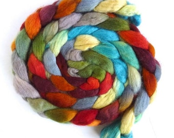 BFL Wool Roving - Hand Painted Spinning or Felting Fiber, Simple Answer1