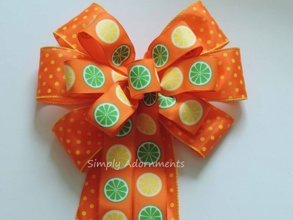 Yellow Orange Citrus Summer Party Decor Citrus Summer Wreath Bow Lemonade Summer Party Decor Summer CitrusWreath Bow Citrus Showers Deco