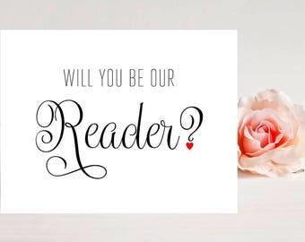 Card for Reader- Card for wedding - Wedding Cards - Will you be our Reader?