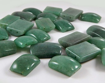 Destash - Green Aventurine Beads - Two Sizes - 25mm x 20mm and 22mm x 18mm. Double Drilled Beads.