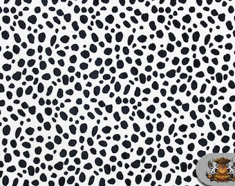 "Minky Animal DALMATIAN Black & White Fabric / 60"" Wide / Sold By the yard"