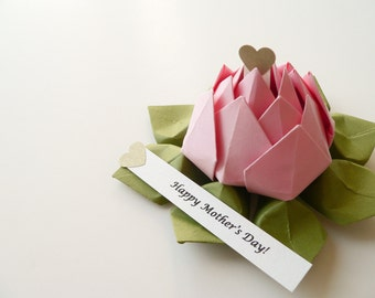 Mother's Day Gift - PERSONALIZED Origami Lotus Flower in Blossom Pink and Moss Green with gift box - get well, birthday, baby girl