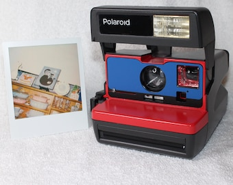 Ready To Go! Upcycled Red and Blue Polaroid 600 OneStep