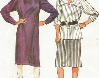 1980s Womens Raglan Sleeve Dress or Top & Skirt Butterick Sewing Pattern 6240 Size 8 10 12 Bust 31 1/2 to 34 UnCut Vintage Sewing Patterns