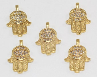 3 Pcs Spacer Beads, 22x15mm, Gold Plated, Micro Pave Zirconia, Hamsa Hand, Bracelet Connectors, CZ Space Beads,  MMT142