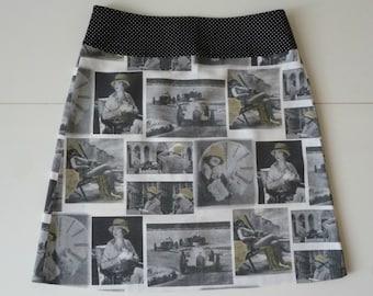 Nostalgic photo prints skirt, A-line skirt, black grey white yellow, dots, pictures, hats, size EU 40 (USA 10 - UK 12), cotton, zipper