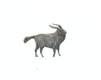goat charm , brass, made in USA, 26mm, sold 2 each 15354AG