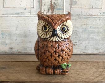 Vintage Ceramic Owl Planter or Vase