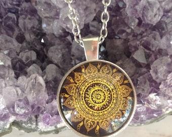 Boho Necklace Glass Dome Mandala Pendant Gypsy Jewelry Hippie Jewelry C49