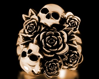 Skull Bouquet Ring Brass Skulls Flowers Day Of The Dead