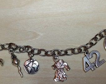 Hitchhikers Guide inspired charm bracelet
