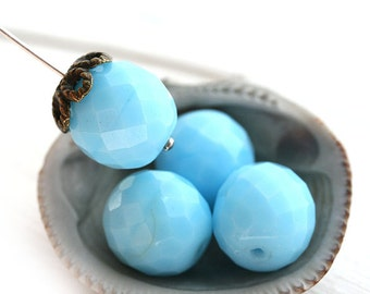 14mm Sky blue beads Fire polished czech glass large round beads, faceted, ball beads - 4Pc - 2346