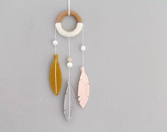Felt Feather Dream Catcher Decor. Tribal Nursery Wall Hanging Dreamer. Mustard and Peach Baby Girl Dreamcatcher. Handmade by OrdinaryMommy