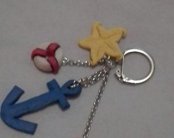 Keychain, bag charm or telephone marine theme in fimo