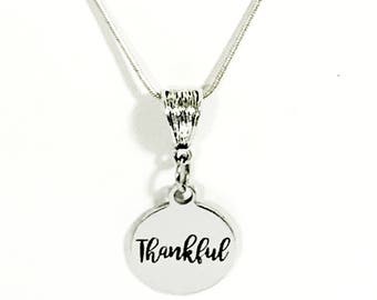 Thankful Necklace, Thanksgiving Jewelry, Thankful Jewelry, Thankful For Blessings, Thanksgiving Jewelry Gift For Her, Thankful For You