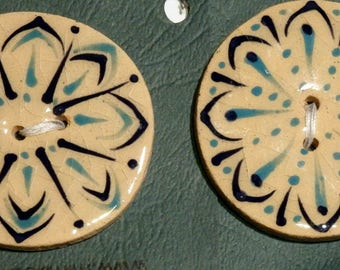 Handmade ceramic buttons - a set of 2 large handpainted turquoise blue pottery buttons C115