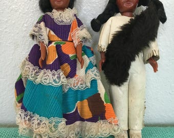 Vintage Souvenir Native American Dolls with Sleepy Eyes