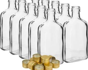 Glass Pocket Flask Bottles 100ml - 10cl - Set 20 Wedding Homebrew DIY gifts