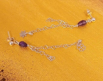 Earrings amethyst and Silver 925 earrings Bohemian chain hearts with clover and flower Silver 925