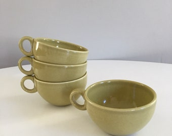 Russel Wright Iroquois Casual China, 4 Tea Cups or Coffee Mugs, Avocado Yellow, Chartreuse Green, Russel Wright Coffee Cups