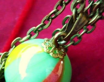 Necklace ball playing green, bronze, idea-gift-Christmas-toy-original