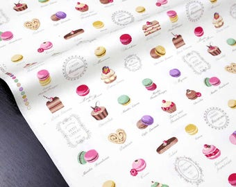 Japanese Fabric Large Sweets Macaron Yuwa - Canvas - White - fat quarter