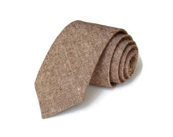 Brown Linen Necktie~Anniversary Gift~Wedding Tie~Mens Gift~Boys Necktie~Mens Necktie~Wedding~HoBo Ties~Mens Tie~Nutmeg Linen~Brown Tie