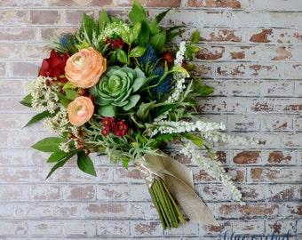 Wedding Bouquet, Artificial Bouquet, Silk Flower Bouquet, Succulent Bouquet, Boho Bouquet, Bridal Bouquet, Colorful Bouquet, Succulents