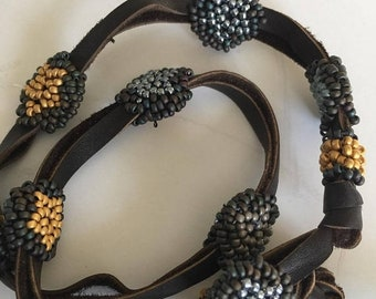 Half Price One week sale Leather and Beads Wrap Bracelet