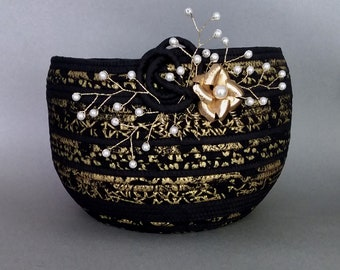 Coiled Basket, Black Gold