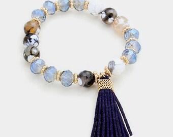 Semi Precious Blue Beaded Tassel Bracelet