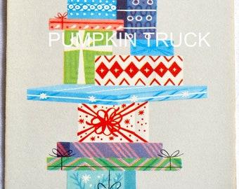 Vintage Christmas Card - Mid Century Stack of  Presents - Unused