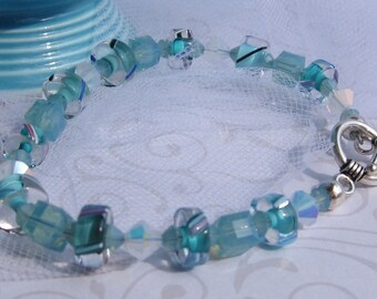 fatdog Bracelet - B1025 Aqua Cane Glass and Crystal